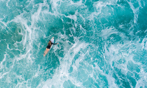 A surfer amid the waves.